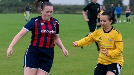 Georgia Payne (left) scored for Park Ladies in their league cup win over Isleham United Ladies. Picture: STEVE HONE