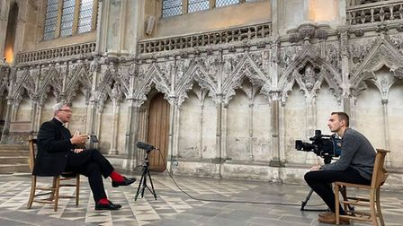Ely Standard reporter Ben Jolley interviewing the Dean of Ely Reverend Mark Bonney about the impact of Covid-19 on Ely...