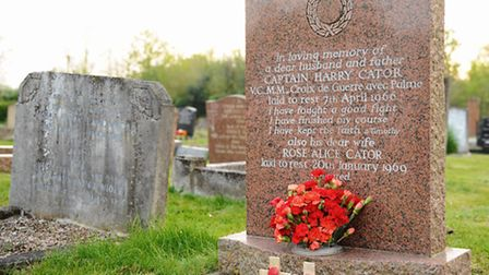 Captain Harry Cator's grave at the Cemetery, next to St Margaret's Church, Sprowston. Picture: Denis