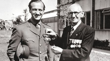 Arthur Henry Cross VC (Harry) (awarded for action in France 1918) with actor and soldier David Niven