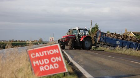 The Forty Foot is closed in the Fens after a tractor and trailer came off the road today. Picture; TERRY HARRIS