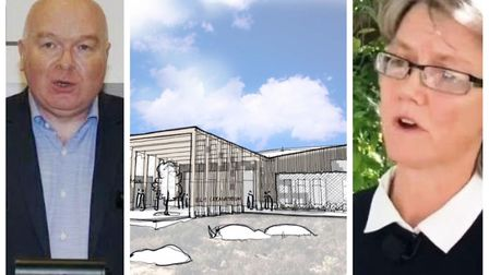 Mepal: John Hill, chief executive of East Cambs Council with council leader Anna Bailey. The sketch is the first concept...
