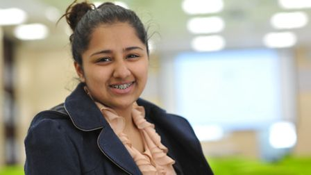 Student Ellisha Patel at the new Sir Isaac Newton sixth form in the old fire station in Norwich city