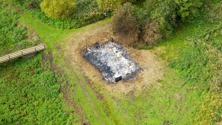 An outdoor classroom at Flag Fen in Peterborough was set alight by arsonists. Picture: Terry Harris