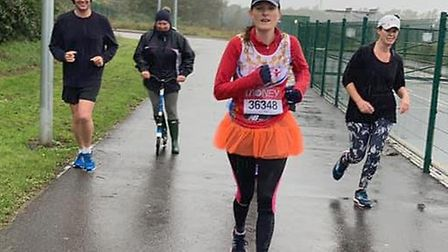 Runners joined Karen Wells as she completed the 26.2 mile London Marathon distance. Pictures: Lyn and Cathy Gibb-de Swarte