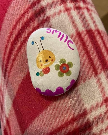Ely Rock Eels put smiles on faces with hand-painted positive rocks to mark World Smile Day. Picture: FLEUR PATTEN