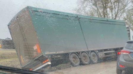A large lorry left Gull Bank in Guyhirn on Tuesday, October 27. Picture: Bethany Moat