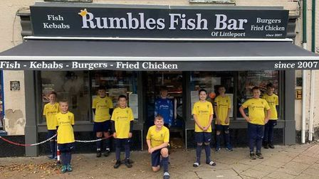Littleport Rangers Under 12 Navy have been sponsored by Rumbles Fish Bar for the 2020-21 season. Picture: SUPPLIED/PENCE...