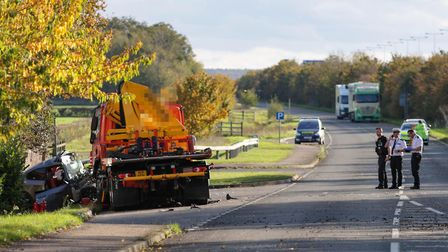 A man has died following a serious collision involving a car and a HGV on the B1043, Cambridgeshire..Picture by Terry...