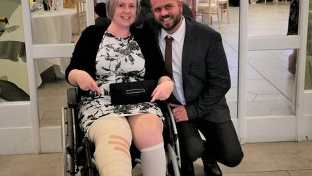 Sarah and Lee at her brother's wedding – just 20 days after her incident. Picture: Supplied