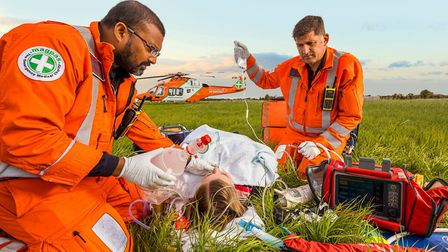 The Magpas Air Ambulance team treating a patient. Picture: File/Supplied