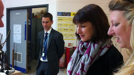 Rachel Reeves, shadow work and pensions secretary, visits Great Yarmouth College. Pictured second ri