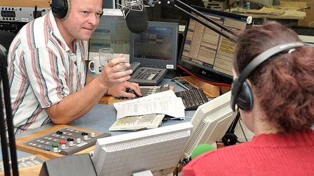 Paul Stainton BBC Radio Cambridgeshire, Interviewing on the breakfast show. Picture Steve Williams