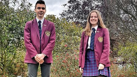 New Head Boy Roshaan and new Head Girl Sophie at Helena Romanes School, Dunmow. Picture: HRS
