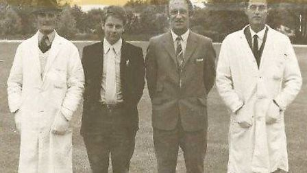 From left: George Phelps, umpire; Michael Parr; Gilbert Mingay and Les Jennings, umpire. Picture: FAMILY