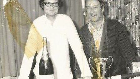 Keith Airey (left) with Gilbert Mingay at a presentation evening. Picture: FAMILY