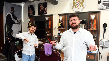 Salih Solak (left), manager of Kings Barbers and Ugur Bozkurt are bidding for success since opening the business in July.