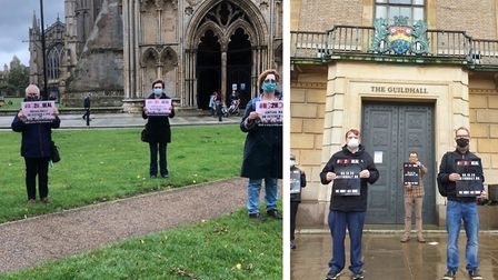 Campaigners against a No Deal Brexit protest in Cambridge and Ely