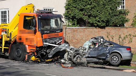 The scene of a collision today in Cambridgeshire in which a motorist died:Picture by Terry Harris.
