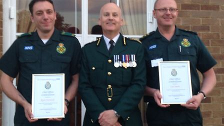 Critical Care Paramedics Ryan Warwick and Carl Smith were presented with the Chief Ambulance Officer
