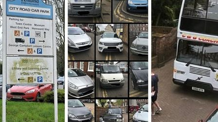 City Road car park, March (left) and (middle) a day of ticketing action by police in Wisbech and (right) when a bus finds...