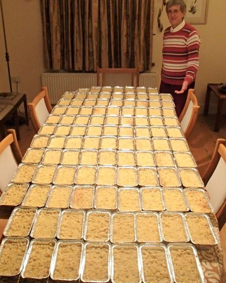 102 Apple Crumbles ready for the Apple Day stall outside Oliver Cromwell's House, raising money for local charities and...