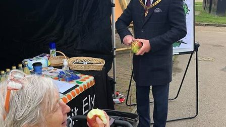 Mayor of Ely, Councillor Sue Austen and her consort, Cllr Arnie Arnold, enjoying a morning out at Apple Day. Picture;