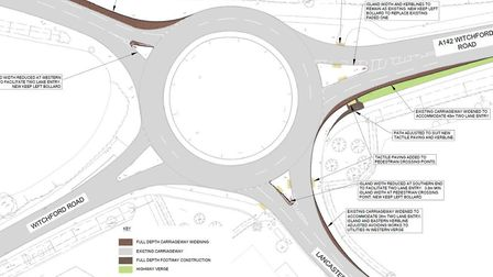 Here's the proposed new lay-out of the A142 access into Lancaster Way business park, Ely, that councillors will vote on.