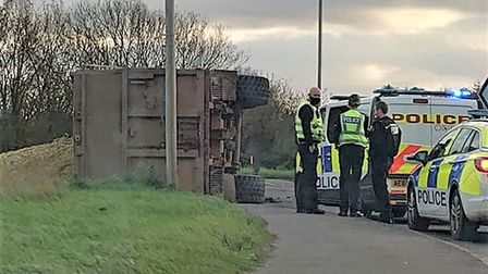 The vehicle which caused delays on the A141 between March and Wimblington was a tractor trailer. Picture: Dan Martin
