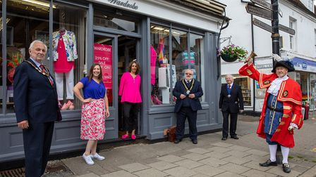 From June 2020: Nikki Anthony of Wardrobe, with Great Dunmow Town Council mayor Mike Coleman, Rachael Clark of Great...