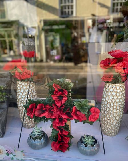 A Remembrance day window at The Rose Garden florist in Dunmow. Picture: ROSE GARDEN