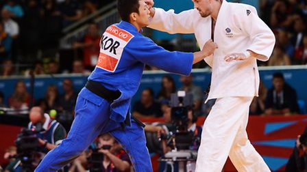 Olympic Judo Mens Epechage at the London 2012 Olympics, Colin Oates against Jun-Ho Cho. Picture: Nic