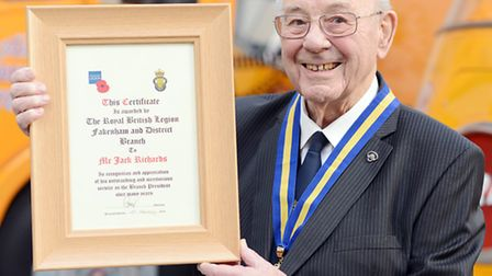 Jack Richards with a certificate he received from the Royal British Legion earlier this year.