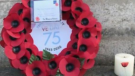 A poppy wreath from this year's VE Day in Dunmow. Picture: DUNMOW AND DISTRICT ROYAL BRITISH LEGION