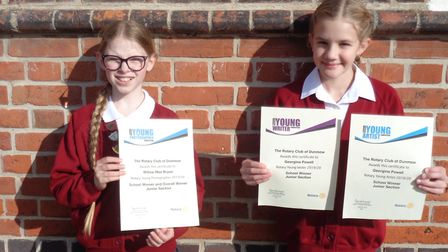 Pupils Willow-Mae and Georgina won in the Rotary Club of Dunmow Schools Competition. Picture: Felsted Primary School