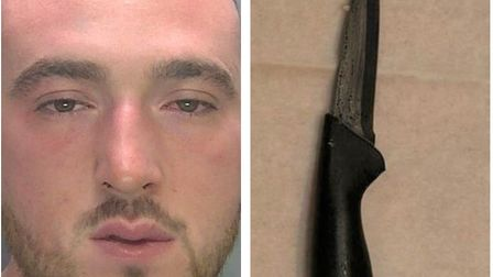 Jerfi Breen, 25, used this knife to stab a stranger after a house party spilled out onto the street. Cambs police are now...
