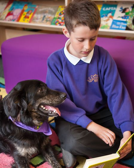 Keiron Blundell reading with Declan at Queen's Hill primary school at Costessey. Photo: Bill Smith