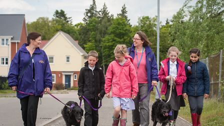 Reward walk for the children with the dogs at Queen's Hill primary at Costessey. Photo: Bill Smith