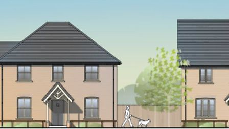 Work to develop 45 affordable homes on Sutton Road, Witchford has begun. Pictured, an illustration of what the houses will...