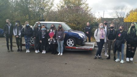A crashed Mini car has been set up to teach students a lesson in road safety before they get behind the wheel. Picture...