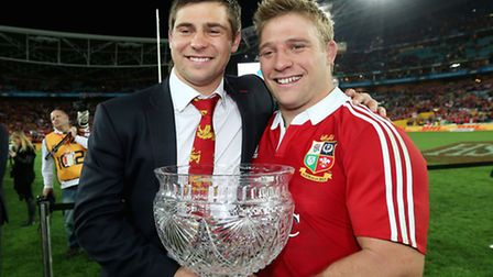 British and Irish Lions' Ben and Tom Youngs celebrate the Lions series win at the ANZ Stadium, Sydne