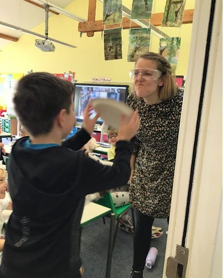 Play Your Cards Right, Dunmow style and the teacher or the headteacher gets a pie to the face! Picture: GREAT DUNMOW...