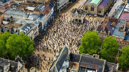 Drone footage of 700-800 at the BLM Black Lives Matter Rally Peterborough.City Centre, PeterboroughSaturday 06 June 2020.