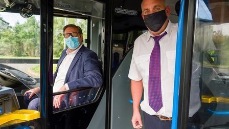 Mayor James Palmer takes a tour with Stagecoach buses. The mayor is to be asked by East Cambs Council to underwrite a new...