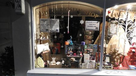 The Curiosity Shop in Great Dunmow is among the traders with Christmas cheerful windows, ready for lockdown 2.0 to lift. Pict...