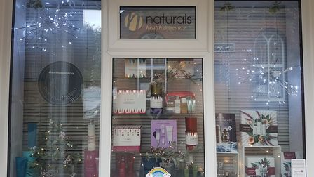Great Dunmow shops are showing their Christmas cheer. This is Naturals Beauty Salon. Picture: NATURALS