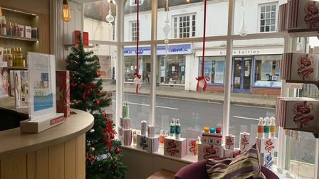 Scarlett and Stone in Great Dunmow has a Christmas tree and a Christmas window. Picture: SCARLETT AND STONE