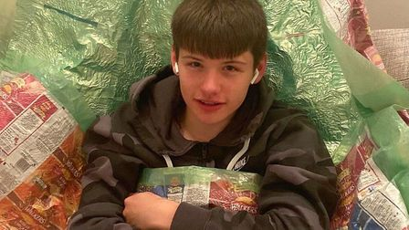 Sixteen-year-old Rhyder Cameron-Wickes from March is making sleeping bags for the homeless out of recycled crisp packets.