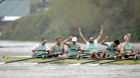 Cambridge, including James Cracknell (second left), were the winners of the 2019 men's Boat Race. Picture: ADAM DAVY/PA