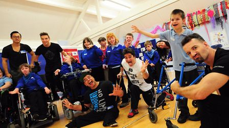 Ill Abilities break-dancing group take a workshop with pupils from The Clare School.Photo by Simon F